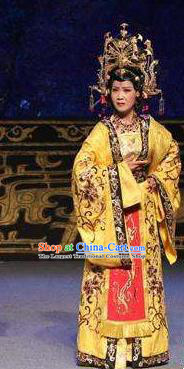 Chinese Jin Opera Queen Garment Costumes and Headdress Wu Zetian and Di Renjie Traditional Shanxi Opera Actress Dress Tang Dynasty Empress Apparels