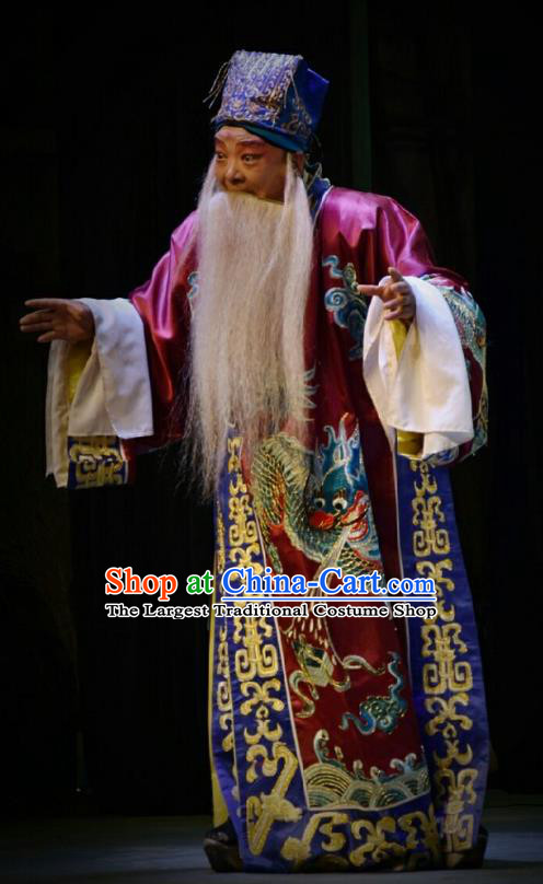 Chinese Shanxi Opera Duke Apparels Costumes and Headpieces Traditional Jin Opera Lord Xu Da Garment Elderly Male Clothing