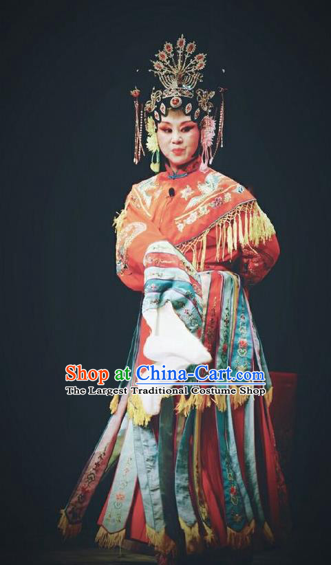 Chinese Jin Opera Royal Empress Garment Costumes and Headdress Traditional Shanxi Opera Court Woman Red Dress Queen Ma Luanying Apparels