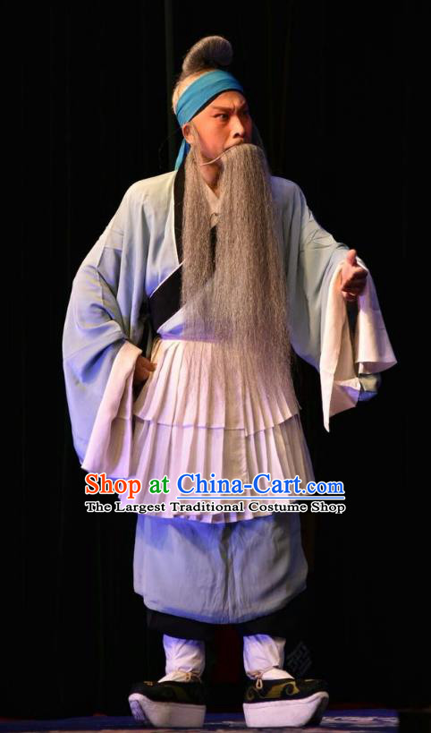 Breeze Pavilion Chinese Shanxi Opera Elderly Male Zhang Yuanxiu Apparels Costumes and Headpieces Traditional Jin Opera Laosheng Garment Clothing