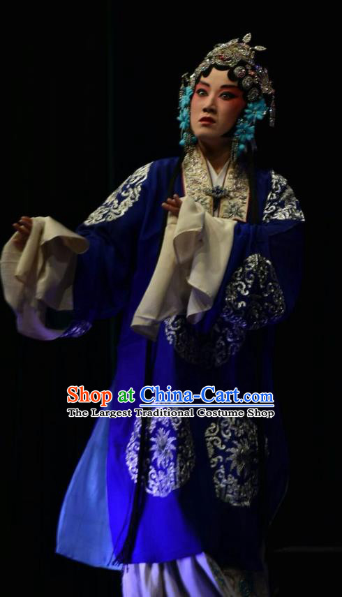 Chinese Jin Opera Rich Concubine Garment Costumes and Headdress Breeze Pavilion Traditional Shanxi Opera Actress Blue Dress Young Female Apparels