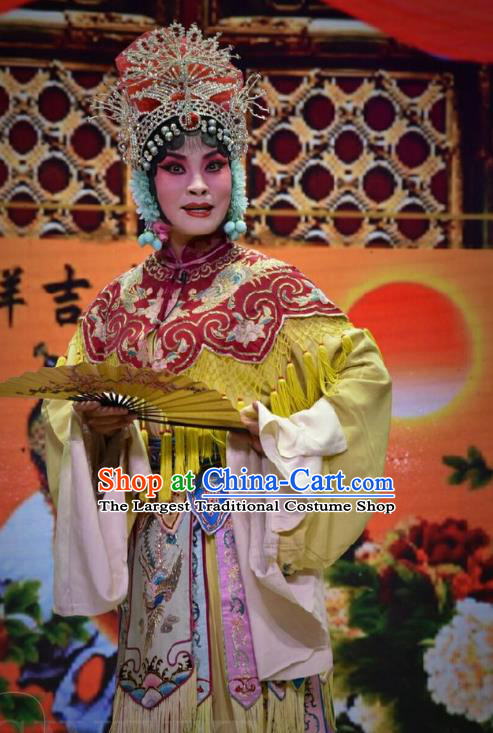 Chinese Jin Opera Imperial Consort Liu Garment Costumes and Headdress Palm Civet for Prince Traditional Shanxi Opera Hua Tan Dress Actress Court Female Apparels