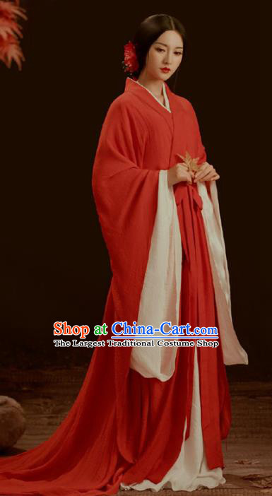 Chinese Qin Dynasty Imperial Consort Historical Costumes Traditional Historical Drama Apparels Ancient Royal Female Red Hanfu Dress