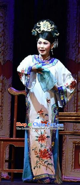 Chinese Jin Opera Qing Dynasty Woman Garment Costumes and Headdress Da Qing Yu Shi Traditional Shanxi Opera Hua Tan Dress Young Mistress Apparels