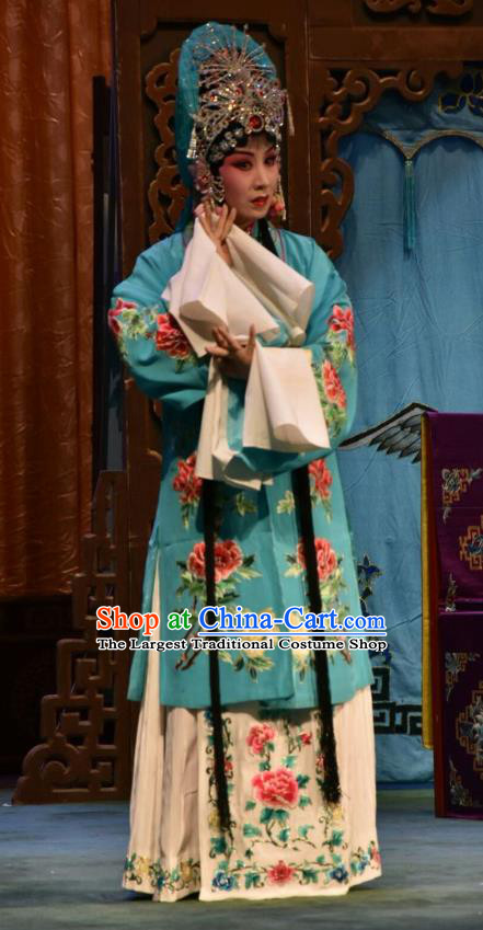 Chinese Jin Opera Young Female Garment Costumes and Headdress Fu Gui Tu Traditional Shanxi Opera Actress Yin Bilian Blue Dress Diva Apparels