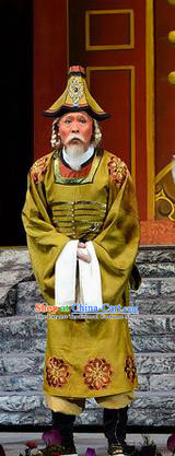 Ba Ersi Yu Shi Chinese Shanxi Opera Elderly Male Ahmed Apparels Costumes and Headpieces Traditional Jin Opera Minister Garment Chancellor Clothing
