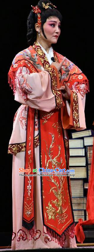 Chinese Jin Opera Hua Tan Garment Costumes and Headdress Fan Jin Zhong Ju Traditional Shanxi Opera Young Mistress Apparels Actress Dress