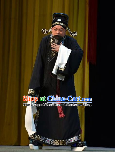 Sacrifice Chinese Shanxi Opera Elderly Man Apparels Costumes and Headpieces Traditional Jin Opera Laosheng Garment Retainer Cheng Ying Clothing