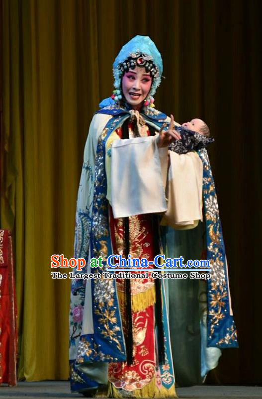 Chinese Jin Opera Princess Zhuangji Garment Costumes and Headdress Sacrifice Traditional Shanxi Opera Hua Tan Apparels Distress Maiden Dress