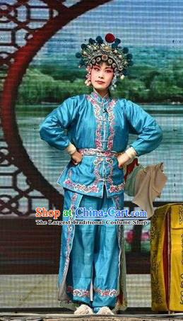 Chinese Jin Opera Female Swordsman Garment Costumes and Headdress Traditional Shanxi Opera Wudan Apparels Zhong Wuyan Dress
