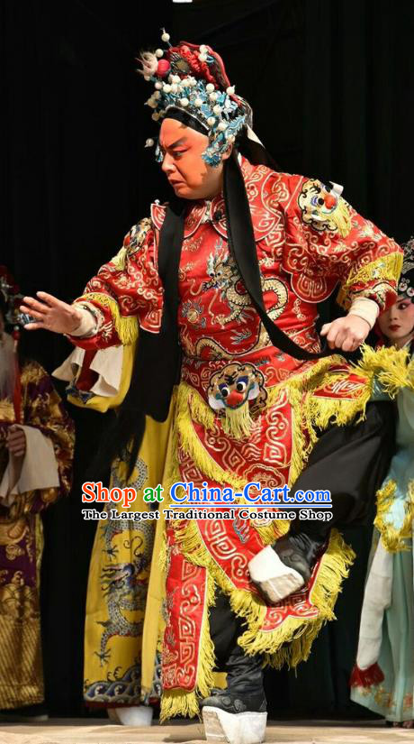 Chinese Shanxi Opera Wusheng Apparels Costumes and Headpieces Traditional Jin Opera Martial Male Garment General Clothing