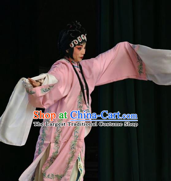 Chinese Jin Opera Actress Zhong Wuyan Garment Costumes and Headdress Traditional Shanxi Opera Hua Tan Apparels Queen Pink Dress