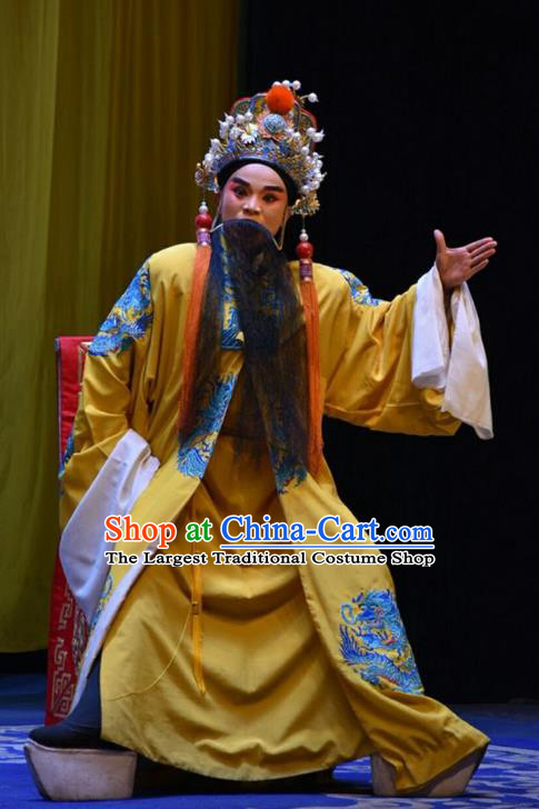 San Guan Dian Shuai Chinese Shanxi Opera Elderly Male Apparels Costumes and Headpieces Traditional Jin Opera Royal Highness Garment Lord Clothing