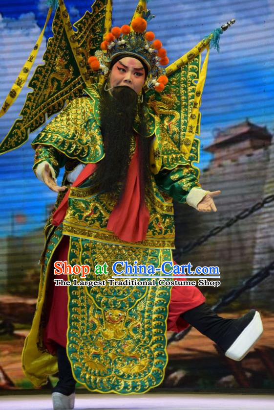 San Guan Dian Shuai Chinese Shanxi Opera General Yang Yanzhao Apparels Costumes and Headpieces Traditional Jin Opera Armor Garment Marshal Clothing with Flags