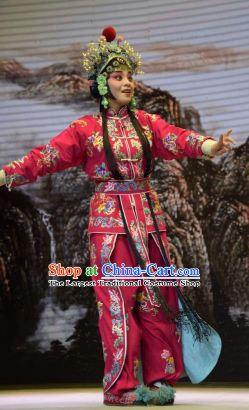 Chinese Jin Opera Female Swordsman Garment Costumes and Headdress San Guan Dian Shuai Traditional Shanxi Opera Dress Martial Woman Rosy Apparels