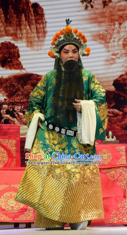 San Guan Dian Shuai Chinese Shanxi Opera Laosheng Apparels Costumes and Headpieces Traditional Jin Opera Elderly Male Garment Marshal Yang Yanzhao Clothing