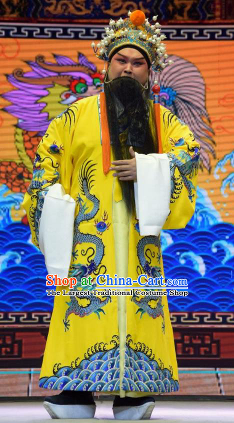 San Guan Dian Shuai Chinese Shanxi Opera Elderly Male Apparels Costumes and Headpieces Traditional Jin Opera Lord Garment Royal Highness Clothing