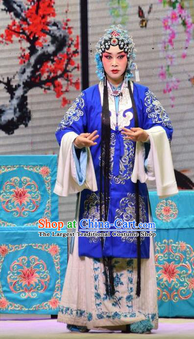 Chinese Jin Opera Young Female Garment Costumes and Headdress Xia He Dong Traditional Shanxi Opera Actress Apparels Mistress Blue Dress