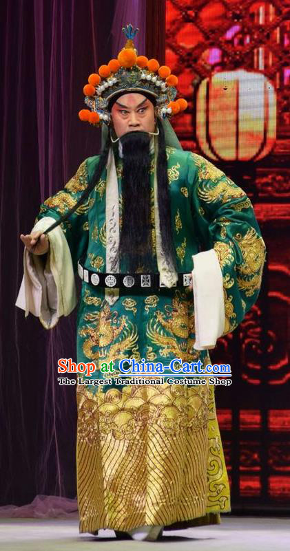 Xia He Dong Chinese Shanxi Opera General Huyan Shouting Apparels Costumes and Headpieces Traditional Jin Opera Elderly Male Garment Military Officer Clothing