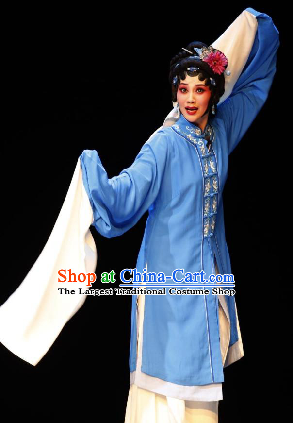 Chinese Jin Opera Diva Garment Costumes and Headdress Lan Ke Mountain Traditional Shanxi Opera Country Woman Dress Young Female Apparels