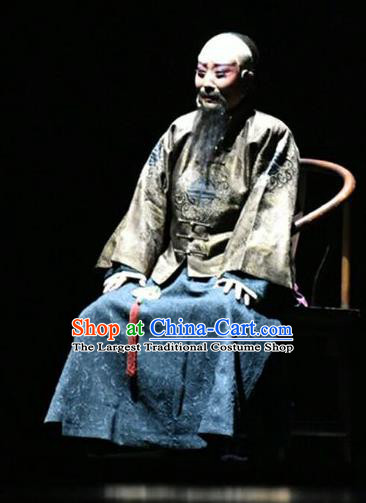 Wang Jia Da Yuan Chinese Shanxi Opera Qing Dynasty Landlord Apparels Costumes and Headpieces Traditional Jin Opera Laosheng Garment Milord Wang Chongren Clothing