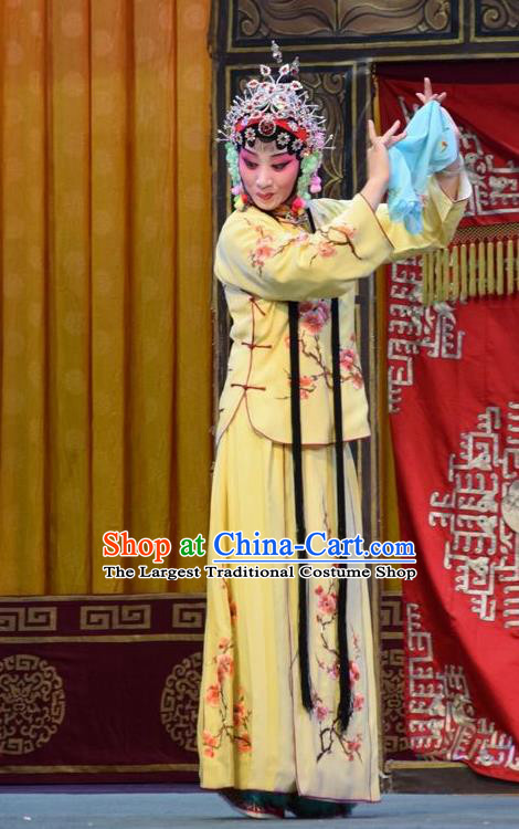 Chinese Jin Opera Actress Yin Bilian Garment Costumes and Headdress Fu Gui Tu Traditional Shanxi Opera Young Beauty Yellow Dress Hua Tan Apparels