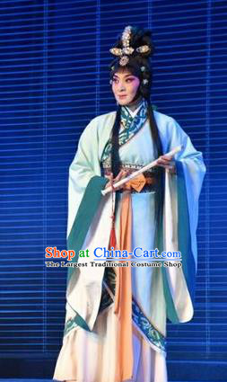 Chinese Jin Opera Diva Zhen Luo Garment Costumes and Headdress Zhen Luo Nv Traditional Shanxi Opera Hua Tan Apparels Young Female Dress