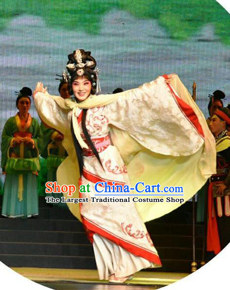 Chinese Jin Opera Queen Zhen Luo Garment Costumes and Headdress Zhen Luo Nv Traditional Shanxi Opera Court Lady Apparels Young Female Dress