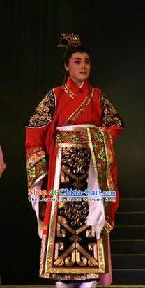 Zhen Luo Nv Chinese Shanxi Opera Prince Cao Zhi Apparels Costumes and Headpieces Traditional Jin Opera Young Male Garment Gifted Scholar Clothing