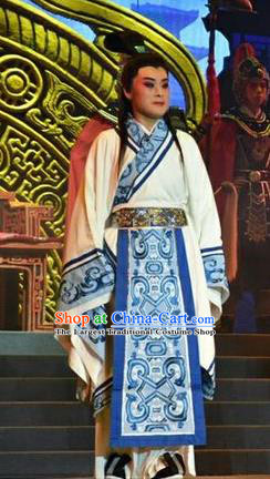 Zhen Luo Nv Chinese Shanxi Opera Young Male Apparels Costumes and Headpieces Traditional Jin Opera Scholar Cao Zhi Garment Xiaosheng Clothing