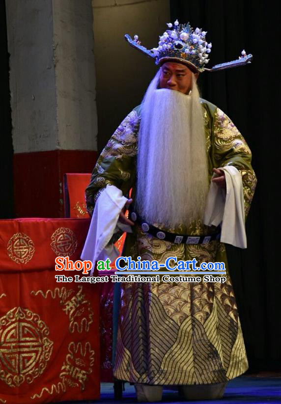 Red Book Sword Chinese Shanxi Opera Elderly Male Apparels Costumes and Headpieces Traditional Jin Opera Laosheng Garment Minister Clothing