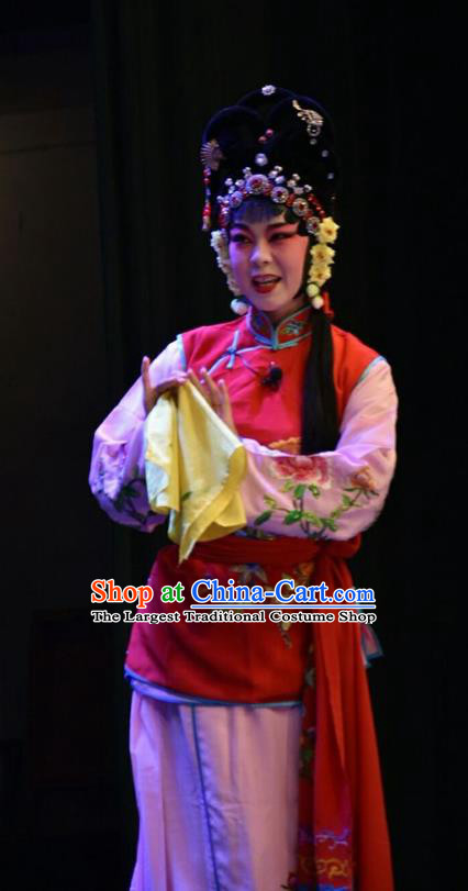 Chinese Jin Opera Maid Lady Garment Costumes and Headdress Red Book Sword Traditional Shanxi Opera Xiaodan Apparels Servant Girl Liu Er Dress