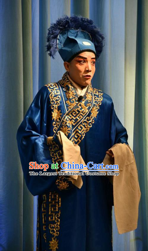 Red Book Sword Chinese Shanxi Opera Servant Apparels Costumes and Headpieces Traditional Jin Opera Du Zhi Garment Clothing