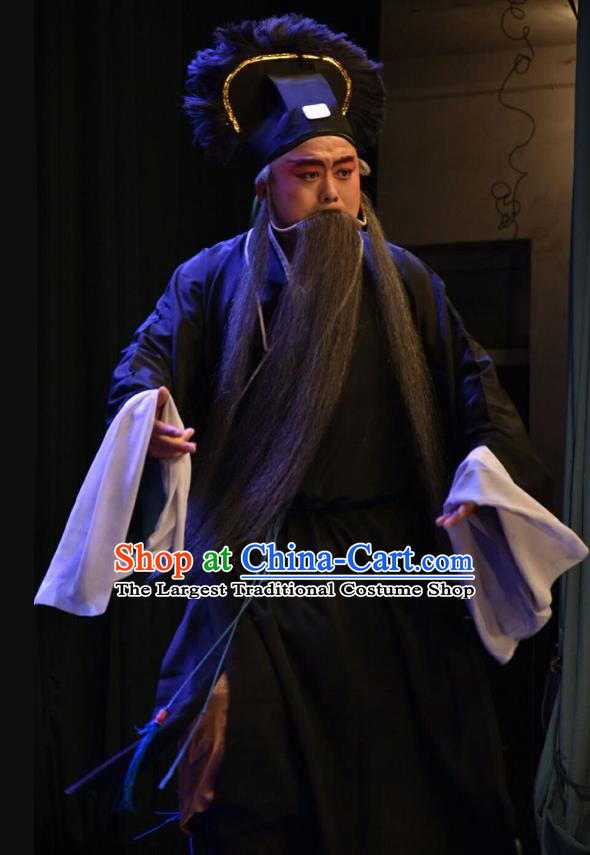Red Book Sword Chinese Shanxi Opera Laosheng Apparels Costumes and Headpieces Traditional Jin Opera Elderly Male Garment Old Servant Clothing