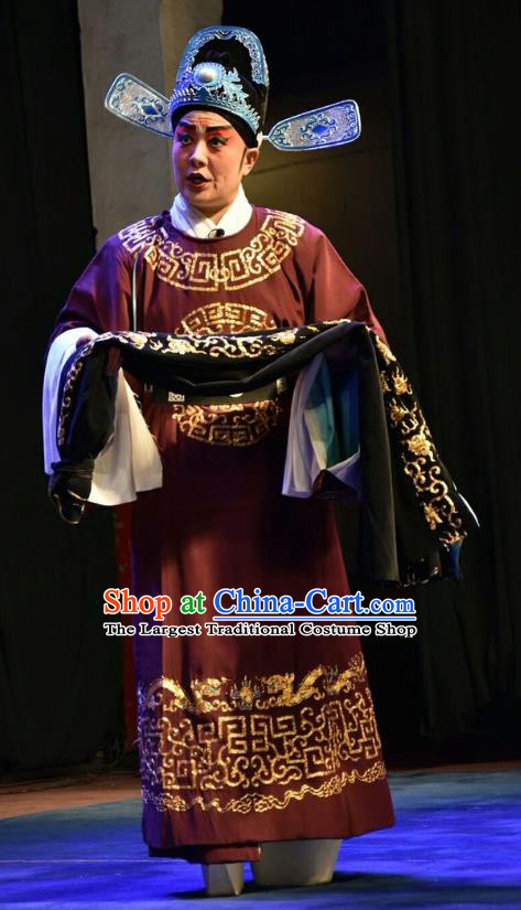 Red Book Sword Chinese Shanxi Opera Xiaosheng Apparels Costumes and Headpieces Traditional Jin Opera Young Male Garment Official Gao Zhen Clothing