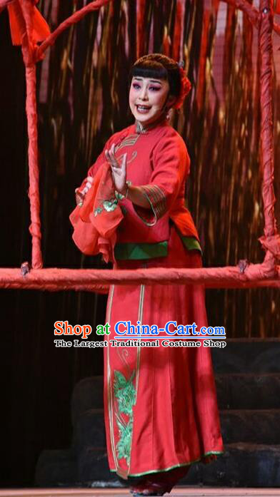 Chinese Jin Opera Bride Red Garment Costumes and Headdress The Red Sorghum Traditional Shanxi Opera Actress Jiu Er Apparels Village Girl Dress