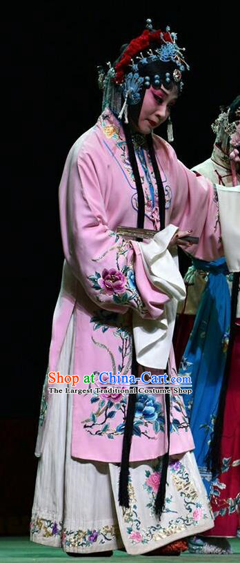 Chinese Jin Opera Rich Female Liu Yuyan Garment Costumes and Headdress Hua Tian Cuo Traditional Shanxi Opera Actress Apparels Hua Tan Pink Dress