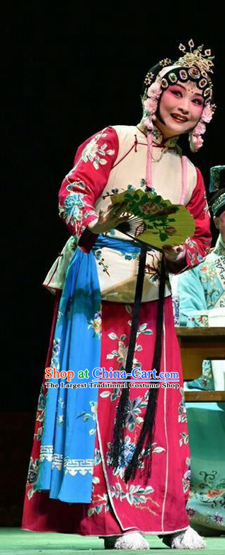 Chinese Jin Opera Servant Girl Garment Costumes and Headdress Hua Tian Cuo Traditional Shanxi Opera Xiaodan Apparels Maid Lady Chun Lan Dress