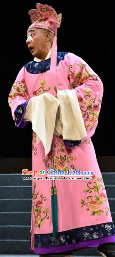 Fan Jin Zhong Ju Chinese Shanxi Opera Rich Man Apparels Costumes and Headpieces Traditional Jin Opera Childe Garment Clown Pink Clothing