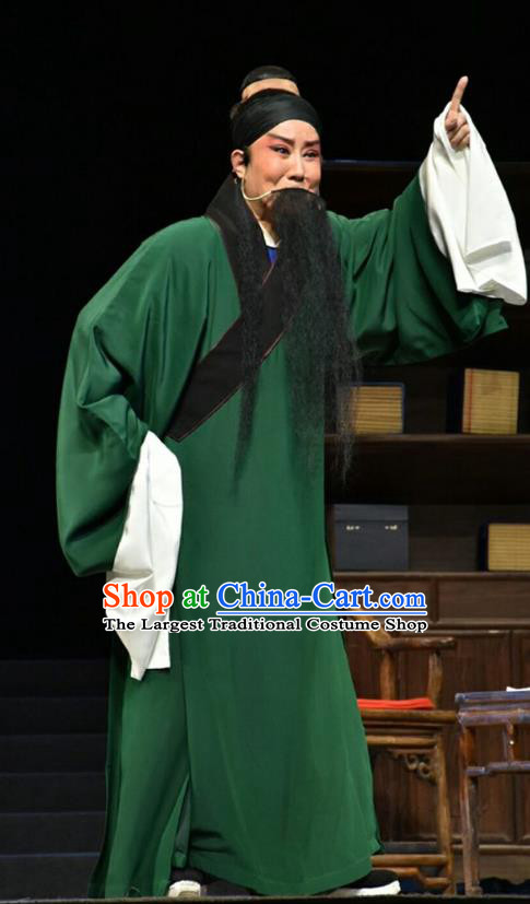 Fan Jin Zhong Ju Chinese Shanxi Opera Old Man Apparels Costumes and Headpieces Traditional Jin Opera Laosheng Garment Elderly Scholar Green Clothing