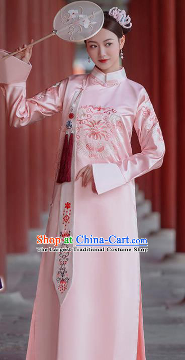 Chinese Traditional Qing Dynasty Manchu Princess Historical Costumes Ancient Imperial Consort Hanfu Dress Noble Female Apparels and Headpieces Complete Set