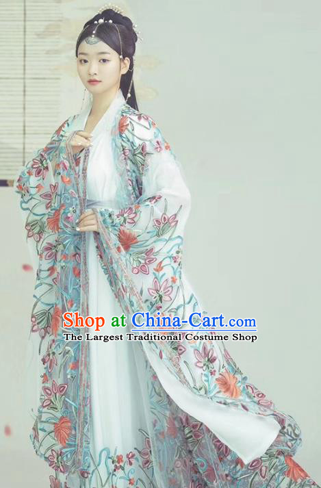 Chinese Traditional Drama Goddess Historical Costumes Ancient Royal Princess Hanfu Dress Apparels and Headpieces for Women