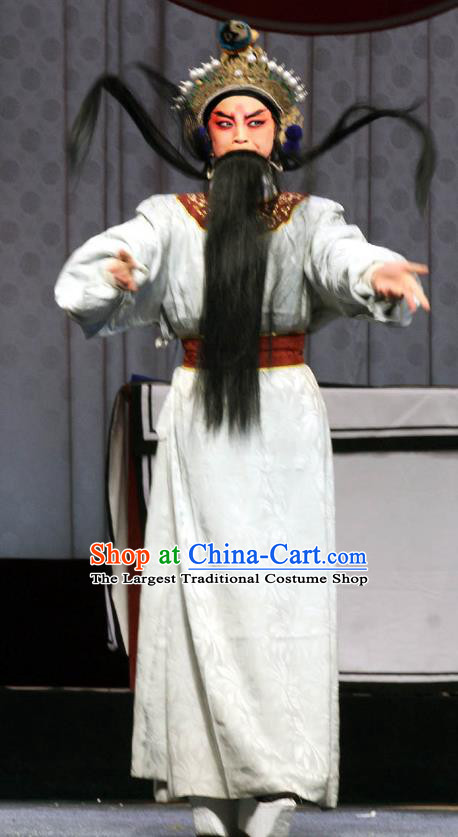 Shen Gong Qing Hun Chinese Shanxi Opera Elderly Male Apparels Costumes and Headpieces Traditional Jin Opera Taoist Priest Garment Laosheng Clothing