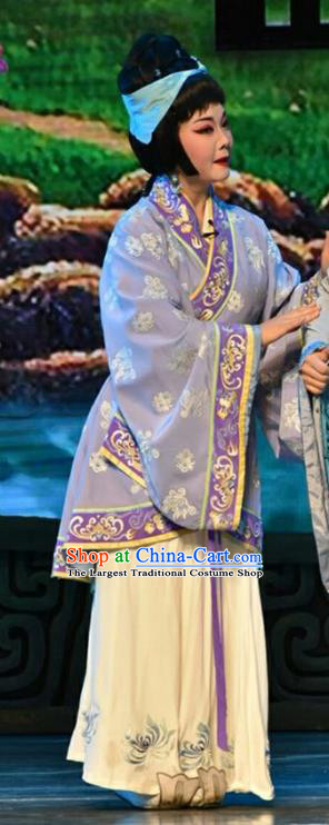 Chinese Jin Opera Country Woman Garment Costumes and Headdress Qing Ming Traditional Shanxi Opera Young Female Apparels Actress Purple Dress