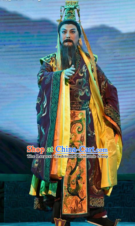 Qing Ming Chinese Shanxi Opera King Of Jin Apparels Costumes and Headpieces Traditional Jin Opera Monarch Garment Lord Clothing