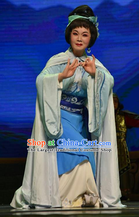 Chinese Jin Opera Country Woman Jie Zijuan Garment Costumes and Headdress Qing Ming Traditional Shanxi Opera Diva Apparels Actress Dress