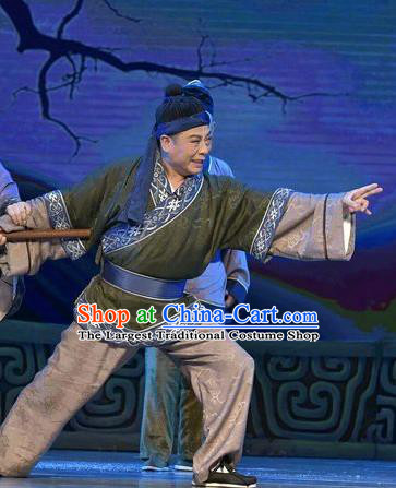 Qing Ming Chinese Shanxi Opera Farmer Apparels Costumes and Headpieces Traditional Jin Opera Country Male Garment Civilian Clothing