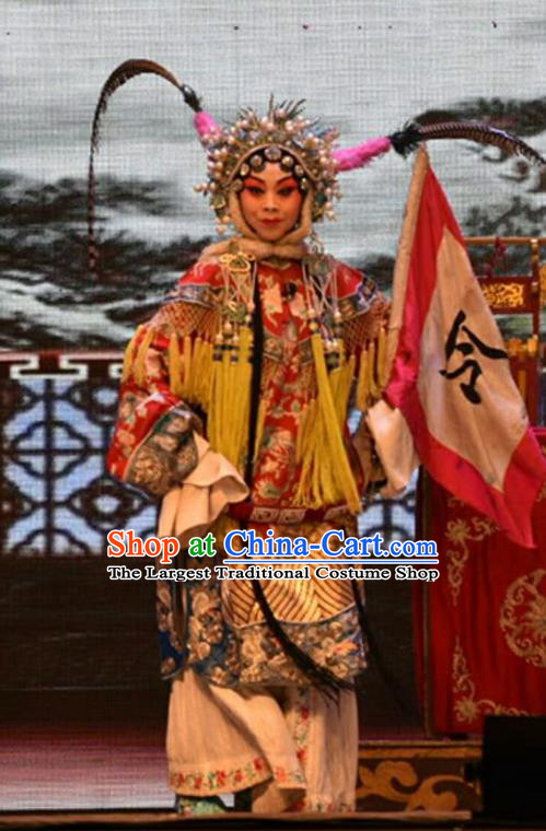 Chinese Jin Opera Tao Ma Tan Garment Costumes and Headdress Lu Hua River Traditional Shanxi Opera Blues Apparels Female General Fan Lihua Dress