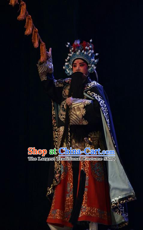 Lu Hua River Chinese Shanxi Opera Wusheng Xue Dingshan Apparels Costumes and Headpieces Traditional Jin Opera Elderly Male Garment General Clothing