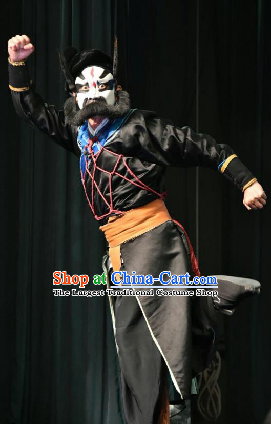 Zhao Jintang Chinese Shanxi Opera Martial Male Apparels Costumes and Headpieces Traditional Jin Opera Painted Role Garment Wusheng Clothing